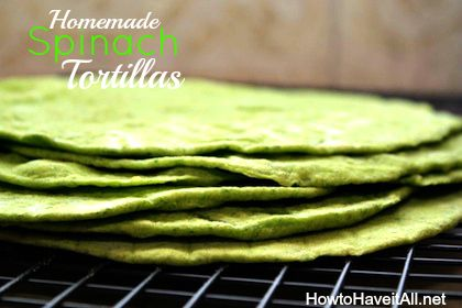 Learn how to make homemade tortillas! These spinach tortillas are great for sandwich wraps.
