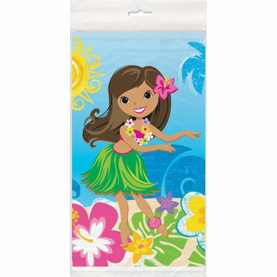 "Plastic Hula Girl Luau Party Tablecloth, 84"" x 54"""