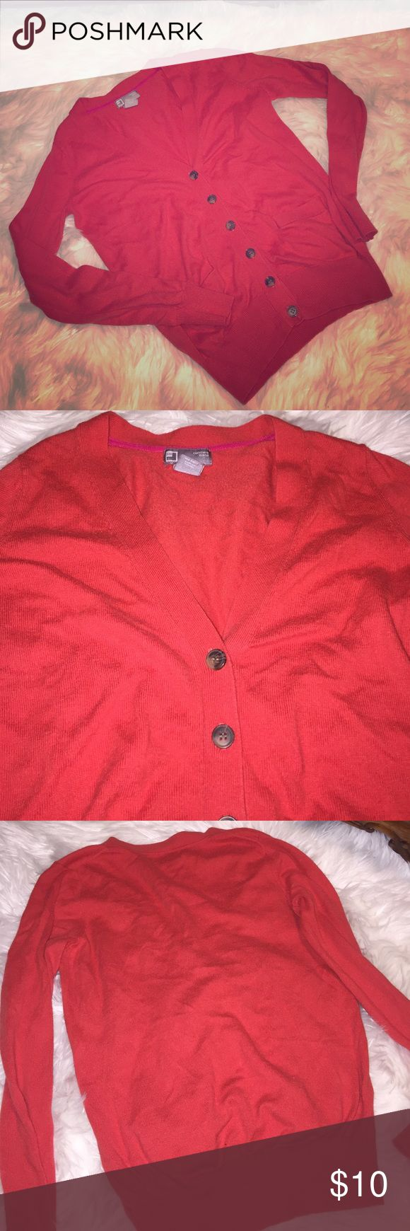 Red V-neck cardigan sweater, long sleeve cashmere Great for the fall season 🍁🍂🌾 red cardigan cashmere blend sweater. 🛍 I am willing to trade this item Tops Camisoles