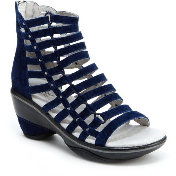 Jambu Navy Solid Brookline Sandal - Women's ($139) ❤ liked on Polyvore featuring shoes, sandals, navy solid, long gladiator sandals, navy blue strappy sandals, strap sandals, navy wedge sandals and wedge heel sandals