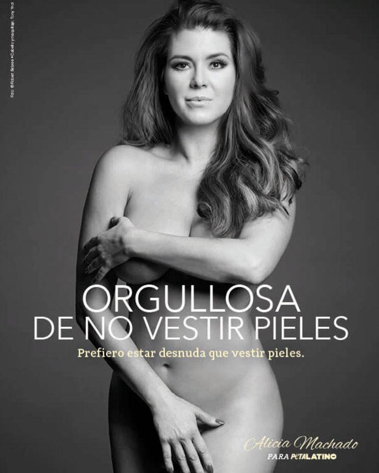 """] NUEVA YORK * 12 de abril de 2017. Alicia Machado protagoniza una nueva campaña de People for Ethical Treatment of Animals (PETA) en contra del uso de pieles animales. La actriz y ex Miss Universo aparece en un promocional en el que luce su cuerpo desnudo con el mensaje: """"Prefiero estar..."""