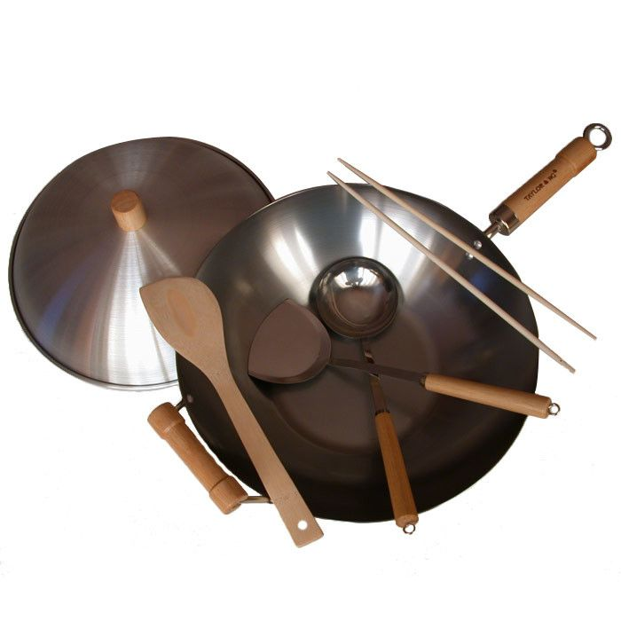Features: -Use any type of cooking utensil. -Cleaning and care: Hand wash and dry. -Cold rolled carbon steel construction. -Classic Woks collection. Color: -Silver. Product Type: -Wok set. Non-