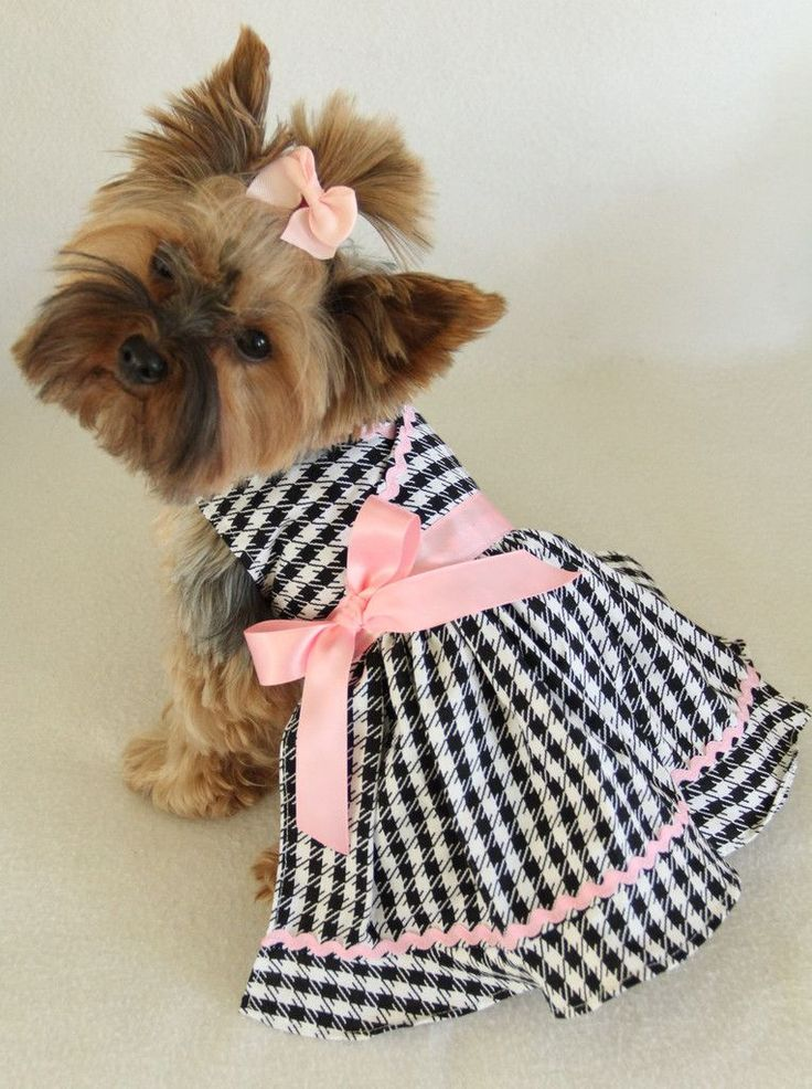 Pink Black Houndstooth Dress for Little Dogs