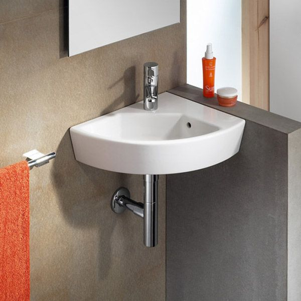 Roca Hall 350 x 430mm Offset Wall-hung 1TH Corner Basin Profile Large Image
