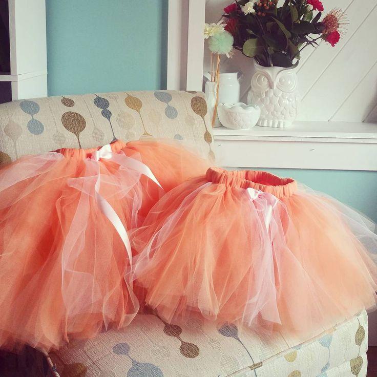 Orange, Peach, and Light Pink blend tulle skirt. Flower girl skirts. #weddinginspiration #flowergirl #tulleskirt #orangesherbet