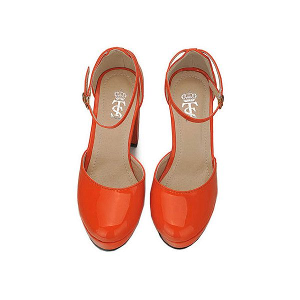 High Block Heel Orange Shoes ($6.50) ❤ liked on Polyvore featuring shoes, pumps, heels, block heel shoes, chunky shoes, chunky heel pumps, orange leather pumps and high heel shoes