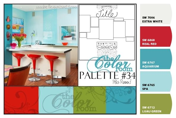 "Main Floor colors.  Green- kitchen  Turquoise accent walls in Living room and dining room  ""spa""- entryway and hallway  red pops of color throughout"