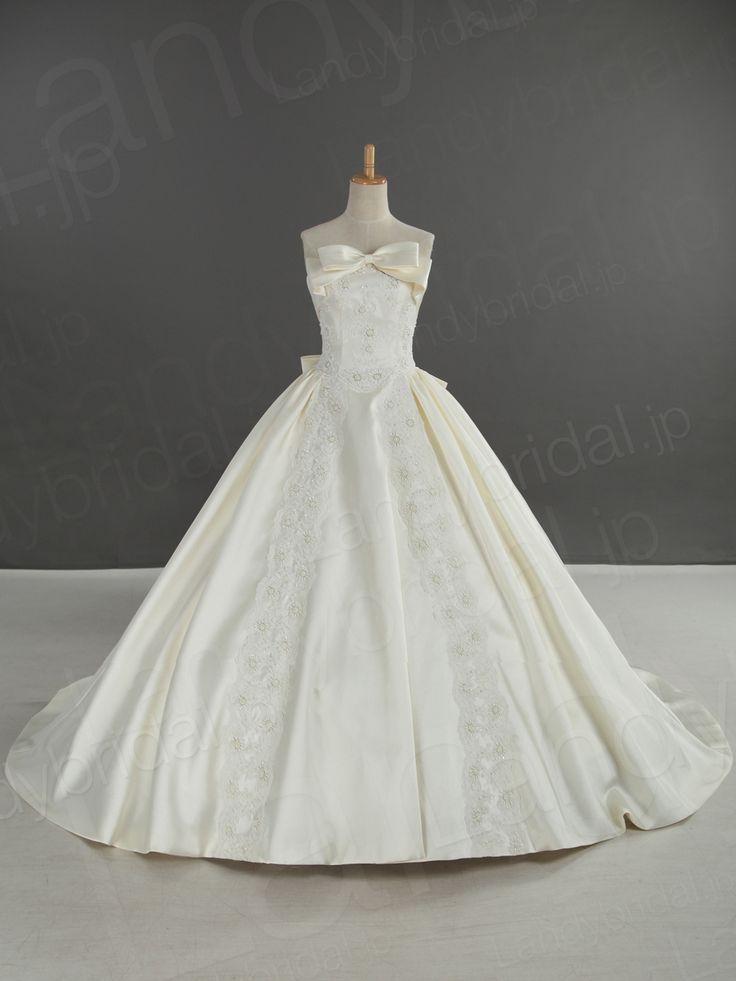ウェディングドレス プリンセス サテン アイボリー 2way 取り外し可能なリボン&トレーン コートトレーン 贅沢なレース刺繍 お姫様みたいな可愛いドレス LD2967 ¥90,000