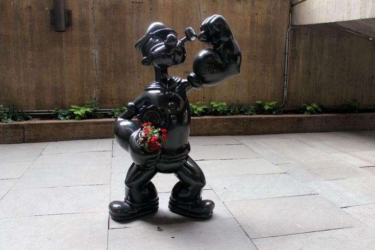 """Popeye,"" 2009-2012 (granite and live flowering plants, edition number 2/3). #Jeffrey #Koons is artist. #cartoon #characters #sculptures"