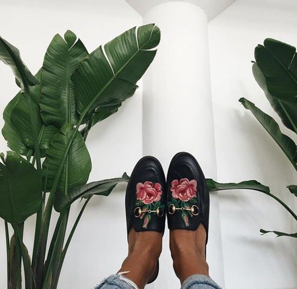 Shoes: tumblr black slide gucci gucci gucci princetown embroidered roses floral loafers