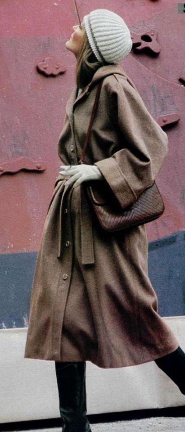 Yves Saint Laurent RIVE-GAUCHE fall 1975.- Loden coat.