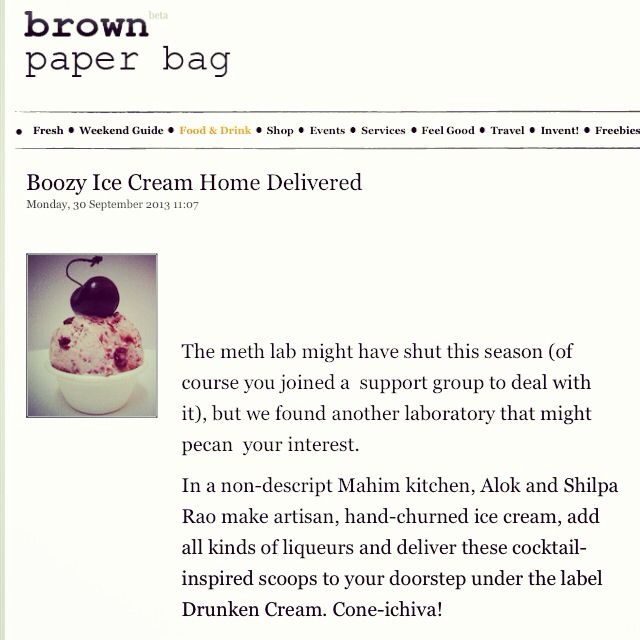 "#DrunkenCream on #BrownPaperBag ….  ""Boozy #icecream home delivered"" Mumbai: Cherry whiskey or chocolate beer? This weekend we found a place that delivers boozy ice cream right to your doorstep!  Read More:
