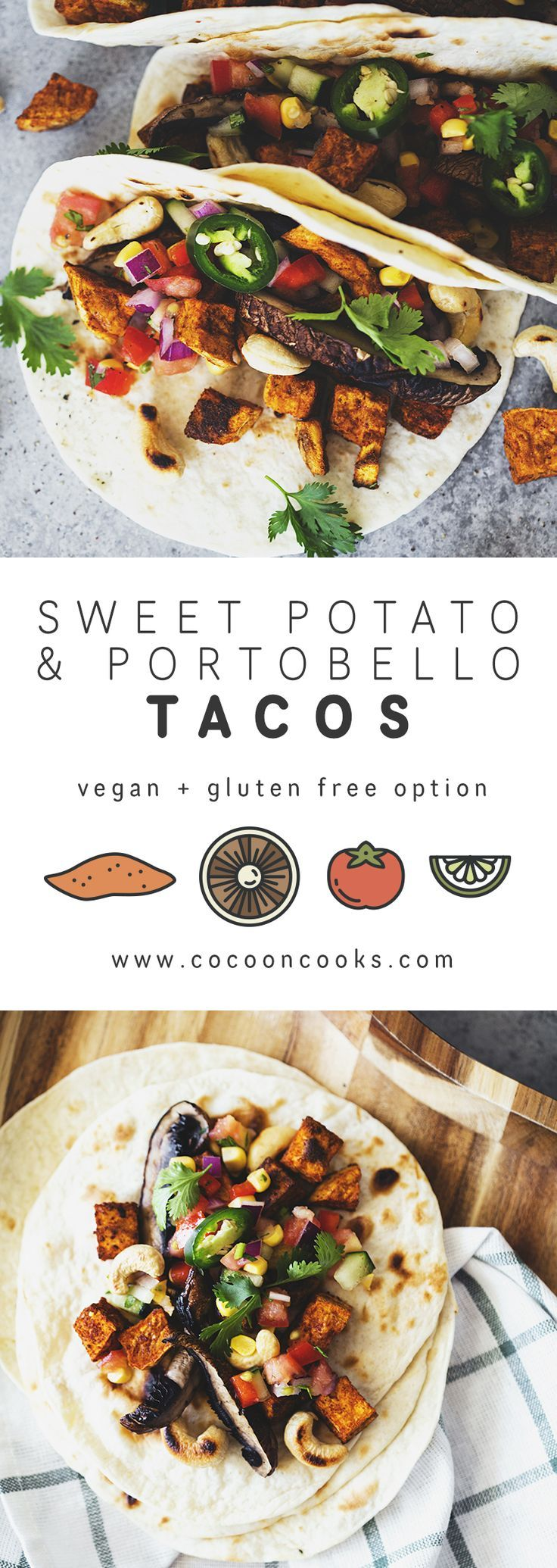 Spiced Sweet Potato & Grilled Portobello Tacos