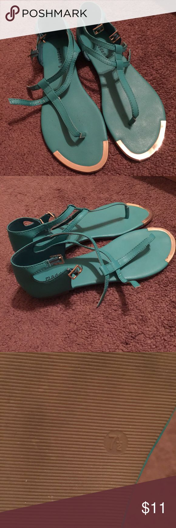 Turquoise Sandals 7 1/2; little dirty. Can be cleaned with soap and water Madden Girl Shoes Sandals