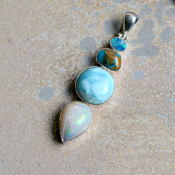 Designer Gemstone Pendant, Multistone Pendant, Sterling Silver, Peruvian Opal, Natural Larimar, Druzy, Gifts for Her, Christmas,  BS17-1031A by WanderlustWorldArts on Etsy