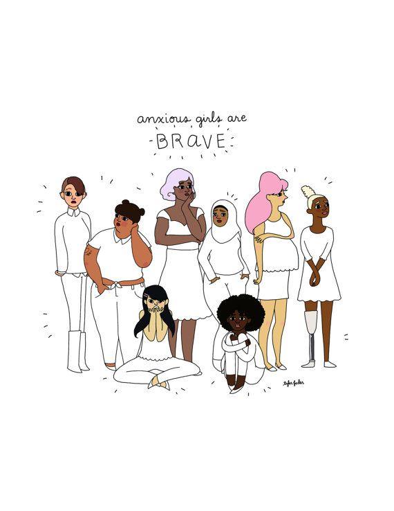Les filles anxieuses sont courageux Print - illustrés à la main