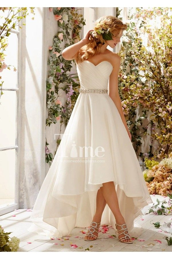 White/Ivory beaded short front long back sweetheart beautiful beach wedding dresses 2014 WD131198