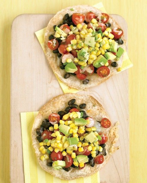 Black-Bean Tostadas with Corn Relish.