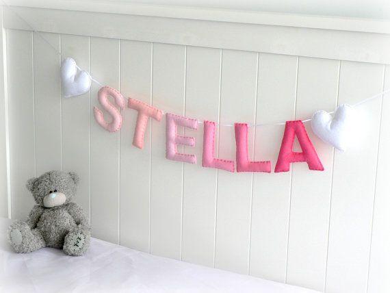 Personalized felt name banner - custom made wall art nursery decor - made to match bedroom colors - nursery decor - ombré