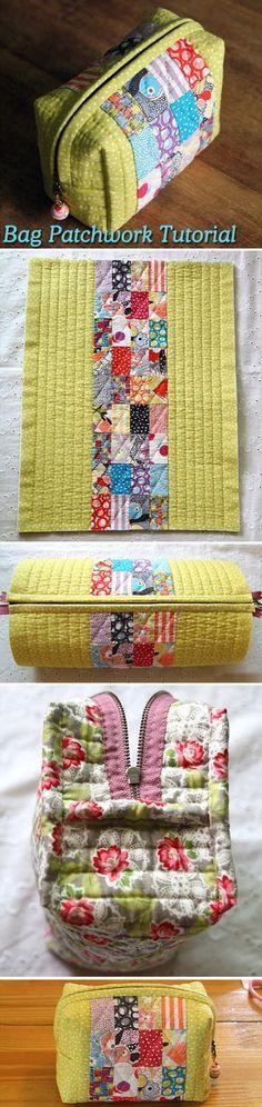 Easy to manufacture handbag in patchwork technique. DIY tutorial. http://www.handmadiya.com/2015/08/small-bag-of-patchwork-diy-tutorial.html
