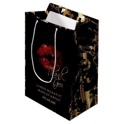 Cinnamon Red Glitter Lip & Gold Marble - Thank You Medium Gift Bag - beautiful gift idea present diy cyo