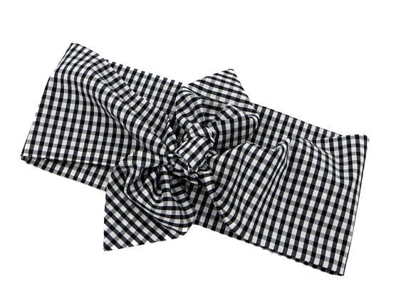 Dolly bow headband Checkered Dolly bow headband checkers white