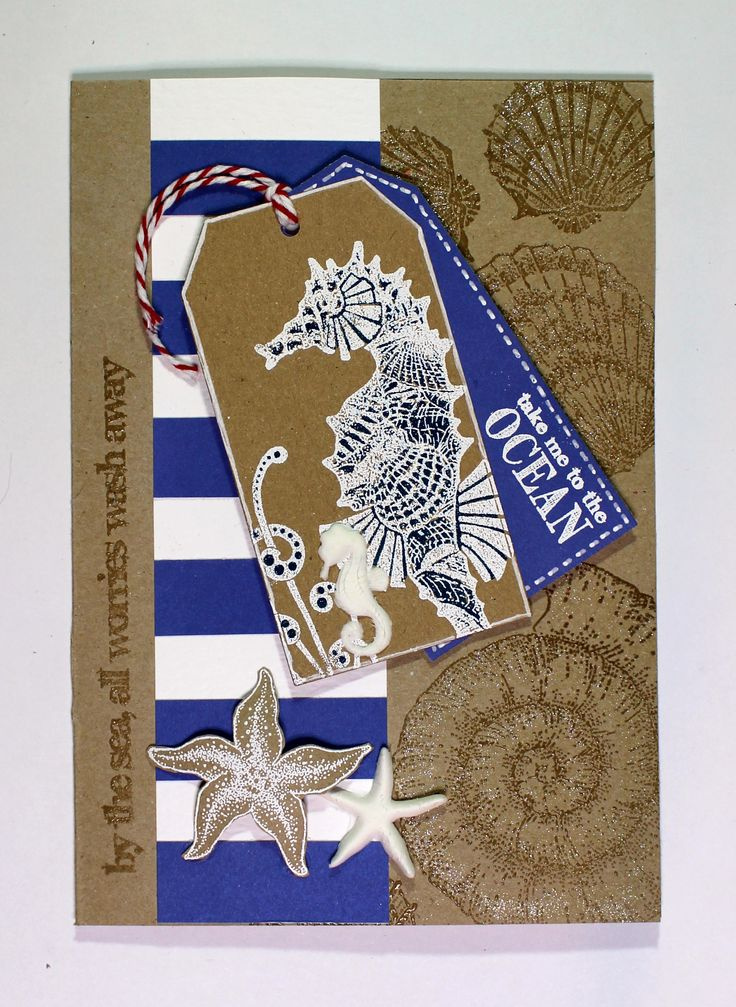 Nautical Seahorse tag card created with Seaside Dreams, Ammonite and Underwater stamps from Chocolate Baroque. Anne Waller #chocolatebaroque #stamping #cardmaking