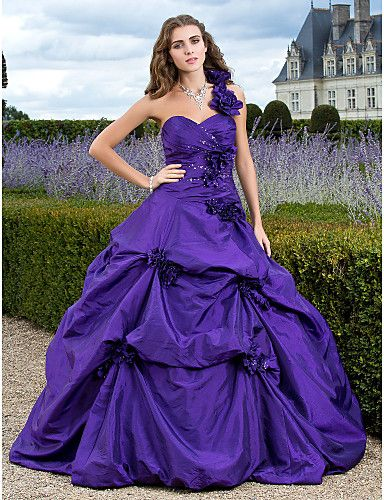 Flower Trimmed One Shoulder Beaded Taffeta Prom Dress