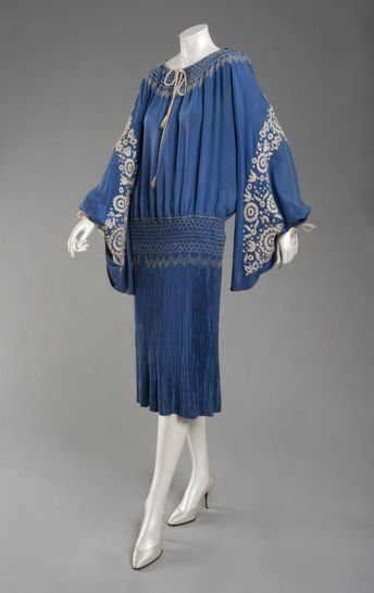 Bright Blue Silk Plain Weave, Blue And White Smocking And White Embroidered Dress - American  c.1925 The Philadelphia Museum of Art