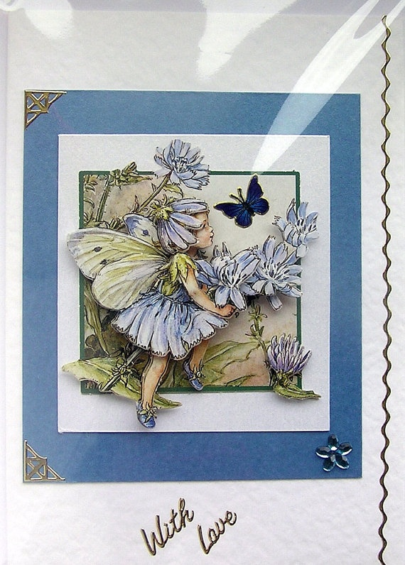 Chicory Fairy HandCrafted 3D Decoupage Card  With by SunnyCrystals, £1.75
