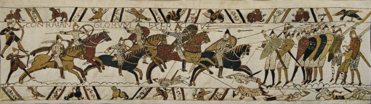 Yesterday I was admiring this version of the The Battle of Hastings tapestry with a customer. This Bayeux Tapestry detail is woven in Belgium with great detail on a full weave that is so pleasing to the eye and the hand. In two sizes, lined with a rod pocket.