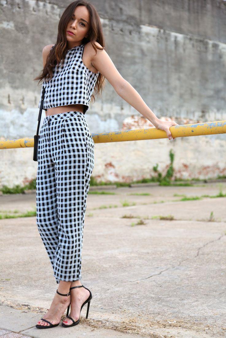 Ashley Madekwe Ring My Bell Topshop gingham top & trousers Saint Laurent sandals Celine bag #streetstyle