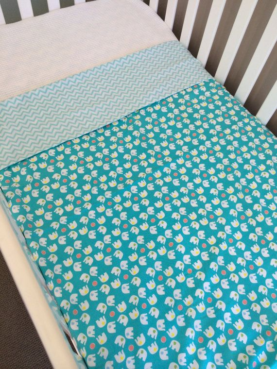 Ready to send Cot doona cover elephants & blue by BabyRainbowz