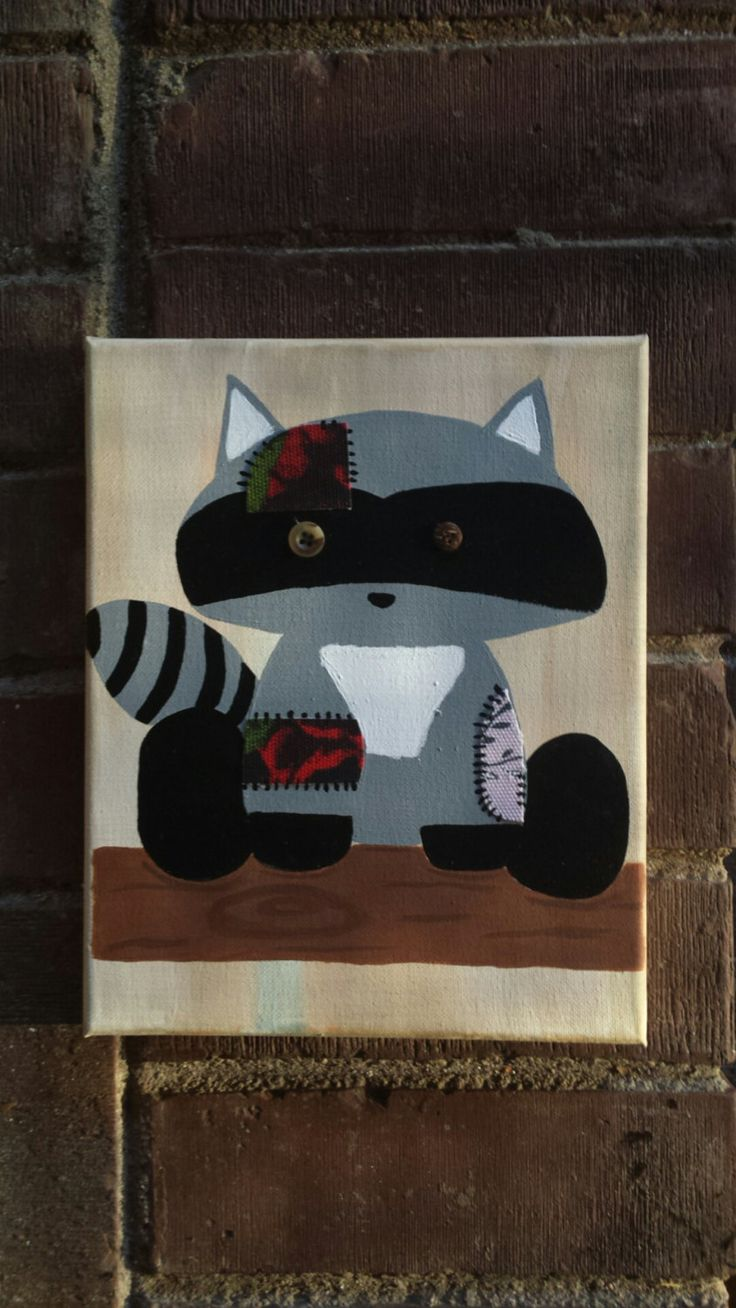 Racoon nursery art, nursery wall decor, baby racoon nursery, Patchwork racoon, nursery decor, Boho baby decor by IndigoWanderlust on Etsy