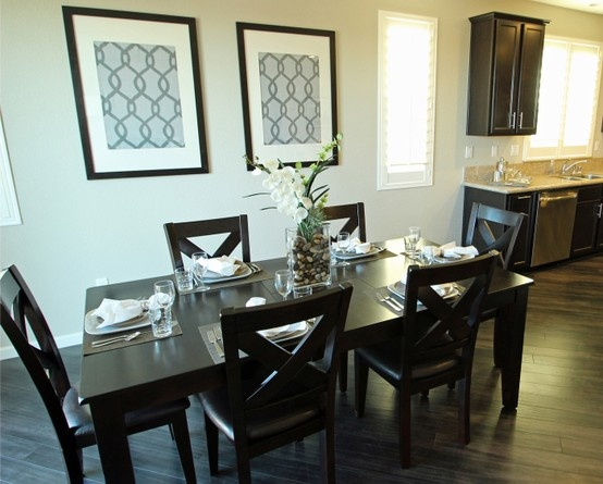 Transitional Dining Room With Custom Wall Decor
