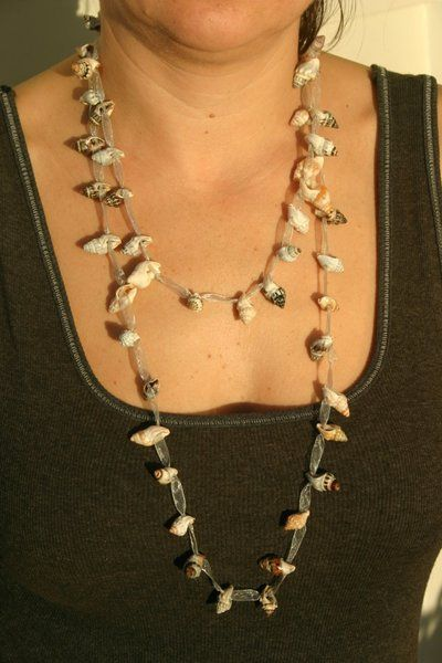 Long shell necklace perfect for summer! #shells #handcrafted #jewelry
