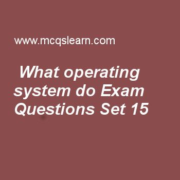 Practice test on what operating system do, operating systems quiz 15 online. Practice operating system exam's questions and answers to learn what operating system do test with answers. Practice online quiz to test knowledge on what operating system do, control and status registers, computer system architecture, system calls in operating system, concurrency deadlock and starvation worksheets. Free what operating system do test has multiple choice questions as one megabyte memory storage in...