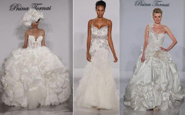 La punta di diamante della collezione 2012 di abiti da sposa di Pnina Tornai sono quelli realizzati in organza con corpetto di tulle ricamato.