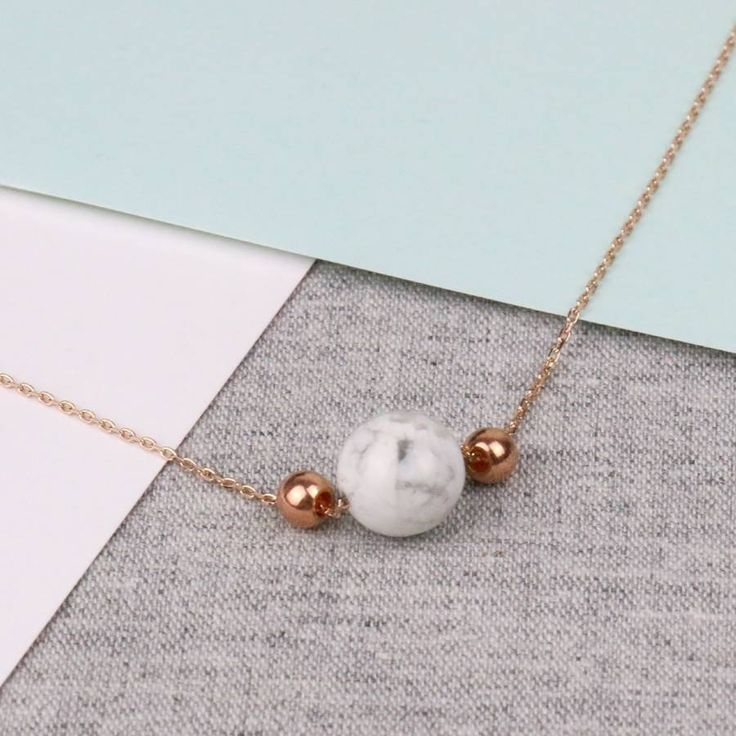 Minimalistic Rose Gold Marble Necklace #beautiful #rosegold