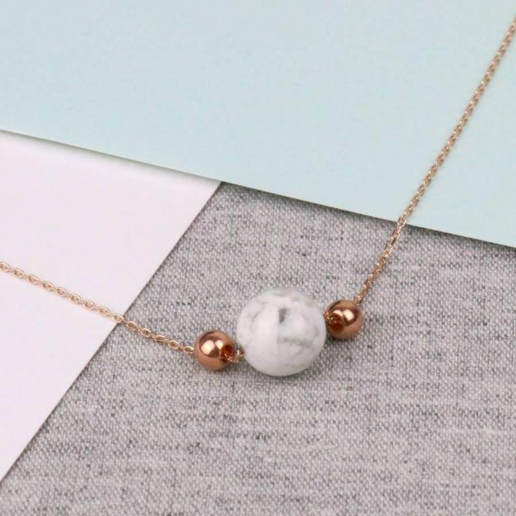 Minimalistic Rose Gold Marble Necklace #beautiful #rosegold