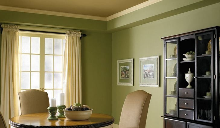 Painting tip flat eggshell and satin finishes are perfect for dining rooms they have a soft for Satin or eggshell for living room