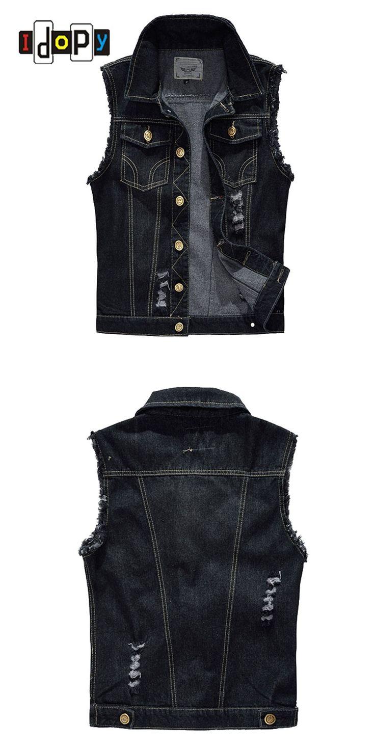 Fashion Men`s Black Denim Vest Ripped Acid Washed Distressed Slim Fit Sleeveless jacket For Male M-6XL Plus Size