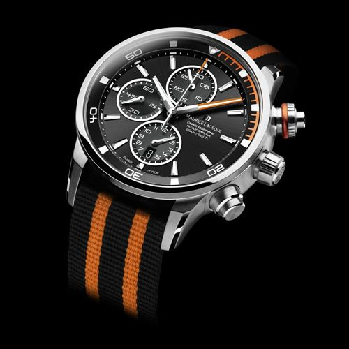 """Maurice Lacroix jumps on the NATO-strap bandwagon with a sleek new diver called the Pontos S Diving Chronograph. The watch features an automatic movement with a power reserve of 46 hours and comes with a metal bracelet or a variety NATO straps to match the dial color."""