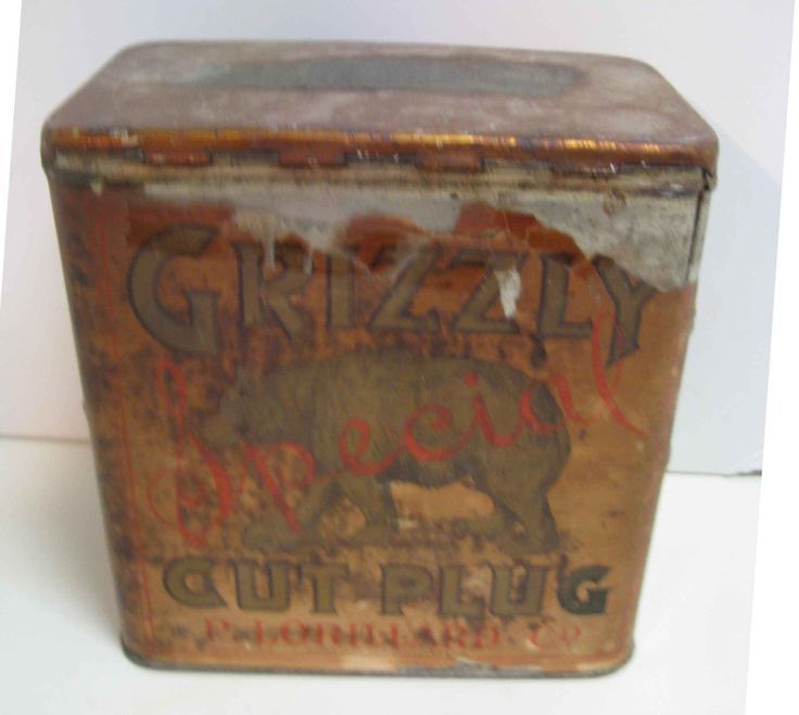 antique Grizzly tobacco tin / P. Lorillard / Cut Plug / 1900's by mudintheUSA on Etsy