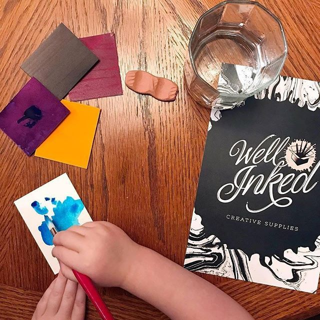 """""""It's so easy a child could do it!"""" Here's the thing: children create without fear, without judgement, without worrying about doing it 'right'. We should all resolve to bring more like them!  Bonus points to @sweetgirldesigns for sharing her supplies with her little one!"""