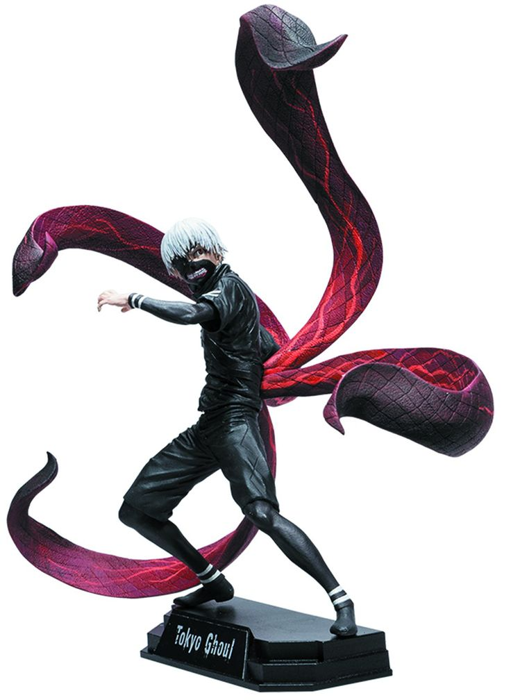 """McFarlane Toys Tokyo Ghoul Ken Kaneki 7"""" Collectible Action Figure. New 7"""" scale figure packaged in a numbered collector edition window box. Figure comes with removable posable Kagune (Tentacles), and alternate unmasked head. Figure includes multiple points of articulation and stylized display base with brand specific callout. Anime adaptation is translated in to a spectacular 3D figure featuring Ken Kaneki in his black battle outfit."""