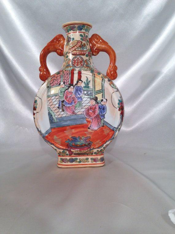 Vase chinois de manipulé deux Da Qing Qianlong Nian Zhi, grand Vase de la dynastie Qing, porcelaine de Chine décoré vase,