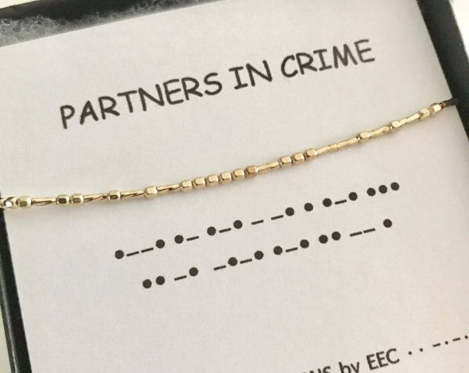 PARTNERS IN CRIME Morse Code Necklace, Secret Message, Best Friends, Wedding Party Gift, Secret Code, Sister Gift, Cousins, Sister in Law