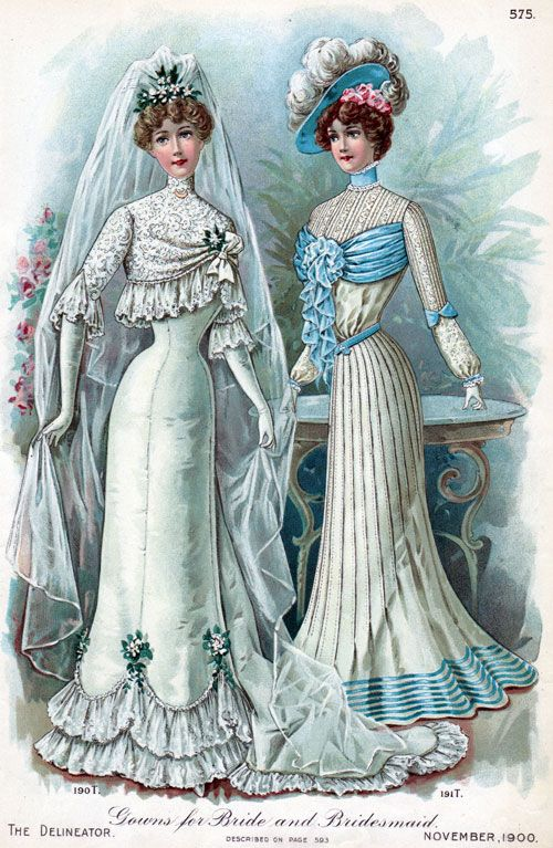 Google Image Result for http://www.gjenvick.com/images/Periodicals/TheDelineator/1900-11/Page575-BrideAndBridesmaidGowns-500.jpg