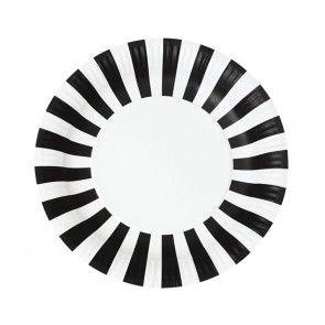 Χάρτινα πιάτα στρογγυλά ριγέ μαύρα Paper Eskimo - 12 τμχ.